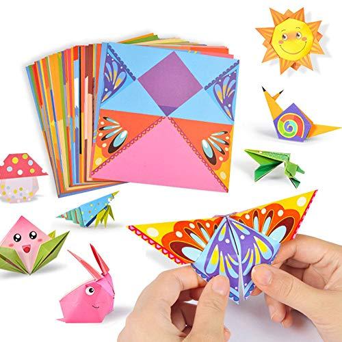 XYDZ Papel para Papiroflexia, 108 Hojas Kit de Origami, Manualidades de Origami, Color kit de Origami, Doble Cara, 15 x 15cm, De Origami, para Niños, Principiantes y Clases de Manualidades Escolares