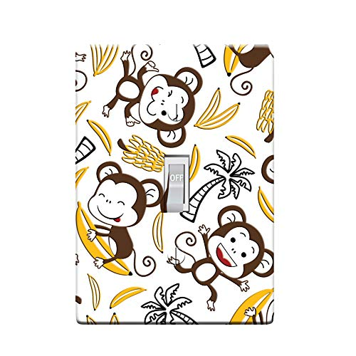 3-D Effect Printed Maxi Metal Banana Monkeys - Light Switch/Outlet Cover L0002 (1-gang toggle)