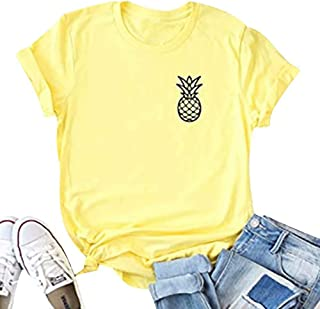 UNIQUEONE Pineapple Shirts Funny Cute Graphic Pineapple Tee Shirt for Women Summer Beach Loose Casual Tee