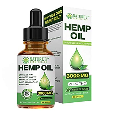 Organic Hemp Oil Extract Drops 3000mg - Ultra Premium Pain Relief Anti-Inflammatory, Stress & Anxiety Relief, Joint Support, Sleep Aid, Omega Fatty Acids 3 6 9, Non-GMO Ultra-Pure CO2 Extracted from Nature's Beneficials