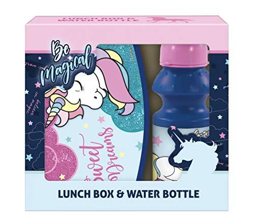 Theonoi Einhorn Unicorn Motiv - Kinder Brotdose / Lunchbox / Sandwichbox + Flasche - tolle Geschenkidee -