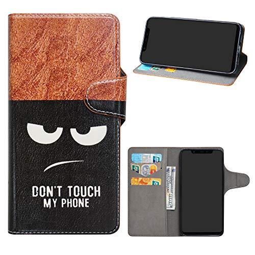HHDY Xiaomi Mi 8 Funda, Diseño PU Cuero Libro Soporte Plegable y Ranuras para Tarjetas Dibujos Caso Cover para Xiaomi Mi 8,Don't Touch