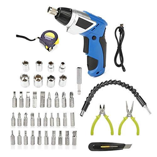 Akozon Mini Hogar Atornillador Destornillador Eléctrico Inalámbrico 3.6V, 45pcs Accesorios completos, baterías...