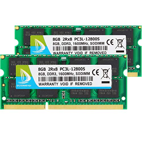 DUOMEIQI 16GB (2x 8GB) DDR3L-1600 SODIMM CL11 Kit di Memoria DDR3L   DDR3 1600 MHz PC3L-12800S   PC3-12800 2Rx8 1.35V  1.5V CL11 204 pin Unbuffered RAM Ideal for Notebook Laptop Upgrade