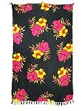 Pareo Sarong Tuch bunt farbig leuchtend/Motiv pink - gelb - rote Blüten auf schwarz Wickelrock Strandtuch Wickelkleid Bademode Freizeitmode Sommermode/aus 100% Viskose