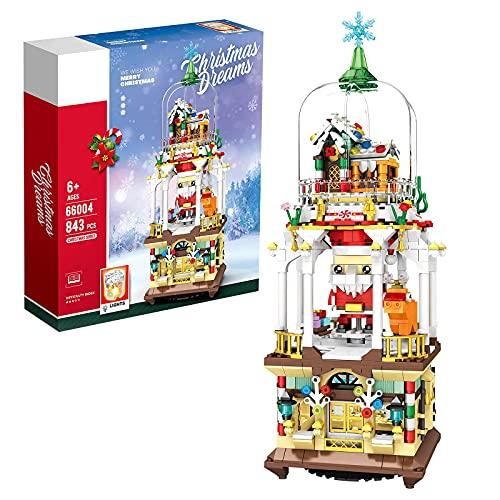 Barm Juego de construcción navideña con luz, 845 Piezas Juego de Bloques de construcción de Modelo de Escena navideña, Regalo de Ladrillos navideños Compatible con Lego Creator