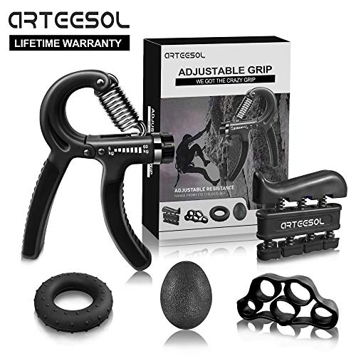 arteesol Fortalecedores de Mano Manual Antebrazo Hand Grip Workout Kit de 5 Pack Negro (Negro)