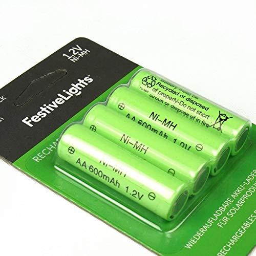wiederaufladbare Akku-Batterien für Solarprodukte – 600mAh - von Festive Lights (4er Pack AA 600mAh 1,2V)
