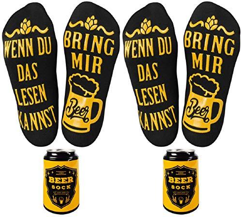Tuopuda Bier-Socken Lustige Socken Damen Herren mit Spruch WENN DU DAS LESEN KANNST BRING MIR BEER Witzige Socken Neuheit Baumwollsocken Knöchel Socken Wintersocken Bier-Geschenk zur Grill-Party