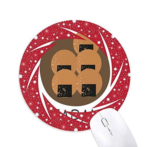 DIYthinker Aperitivo Locales Tradicionales japoneses Wheel Mouse Pad de Goma roja Redonda