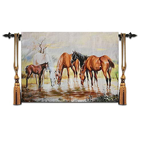XURANFANG Belgische tapijt kantoor decoratieve wand studie Malt acht paarden op het paard in de 80 * 120cm