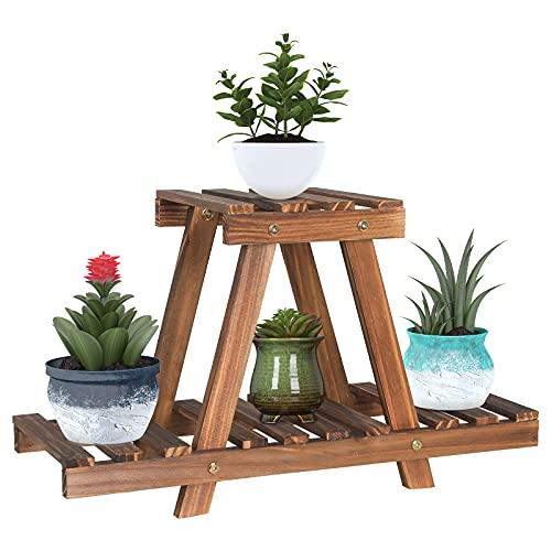 20.5 inch Wood Plant Stand Indoor 2 Tiers Flower Pot Holder Outdoor Desktop Planter Shelf Rack Tabletop Succulent Display Stand Holder for Windowsill Patio Garden Balcony Desk (Small,Cute,A Frame)