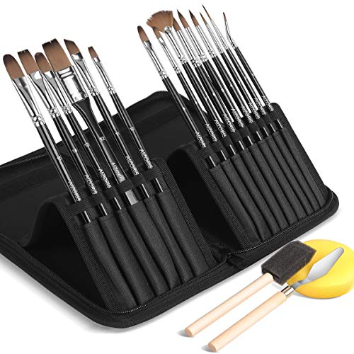 Artist Paint Brush Set,15 Different Sizes Paint Brushes with a Carrying Case. Perfect for Acrylic, Oil, Watercolor Painting, Best Gift for Artists & Kids, Free Painting Knife, Sponge, Foam Brush