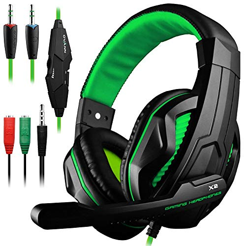 Gaming Headset,DLAND 3.5mm Wired Bass Stereo Noise Isolation Gaming Headphones with Mic for Laptop Computer, Cellphone, PS4 and so on- Volume Control (Black and Green) (Renewed)