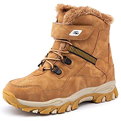 HOBIBEAR Kids Snow Boots Boys Girls Winter Boots Outdoor Warm Shoes Waterproof Hiking Boots(Little Kid/Big Kid) Brown 10