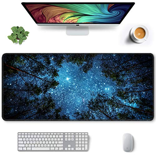 Auhoahsil Large Mouse Pad, Full Desk XXL Extended Gaming Mouse Pad 35' X 15', Waterproof Desk Mat with Stitched Edges, Non-Slip Laptop Computer Keyboard Mousepad for Office and Home, Night Sky Design