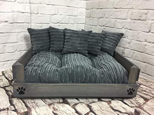 Haustierbett Hundebett aus Holz in 4 Größen Grau