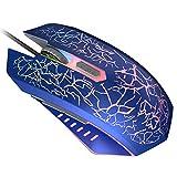 VersionTECH. Ratón Gaming con Cable hasta 3600 dpi Ratón Ergonómico Óptico para Juegos con 7 Colores Luz LED 6 Botón Gaming Mouse Wired para PC/Ordenadores Portátil/Mac(Azul)