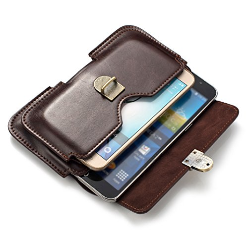 Etui Ceinture pour iPhone X Samsung S9 S8 Plus, Moon mood 6.3 pouces Sac à Main Homme PU Cuir Horizontale Portefeuille Pochette Sac pour Étui Smartphones Belt Bag Holster Case (Couleur Marron)