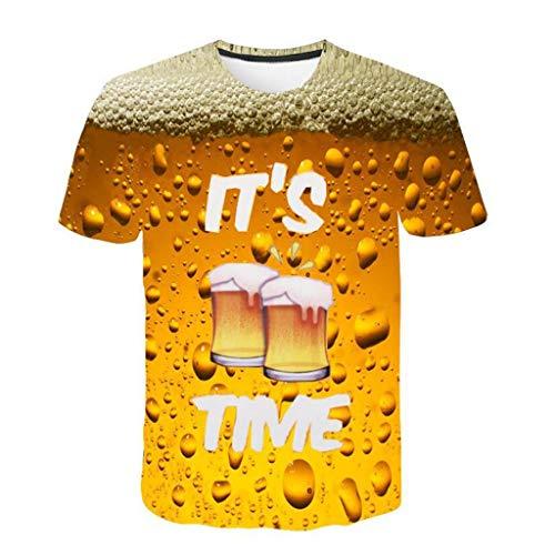 Camisetas 3D Hombre Verano SHOBDW 2019 Nuevo Camisetas Hombre Originales Estampada Cerveza Casual Moda Unisex Blusas Mujer Manga Corta Hawaiana M-3XL(Amarillo,3XL)