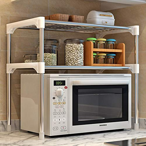 SITAKE Microwave Stand 2-Tier Multifunctional Microwave Ovens Countertop Stainless Steel Fine Mesh Silver Kitchen Shelf