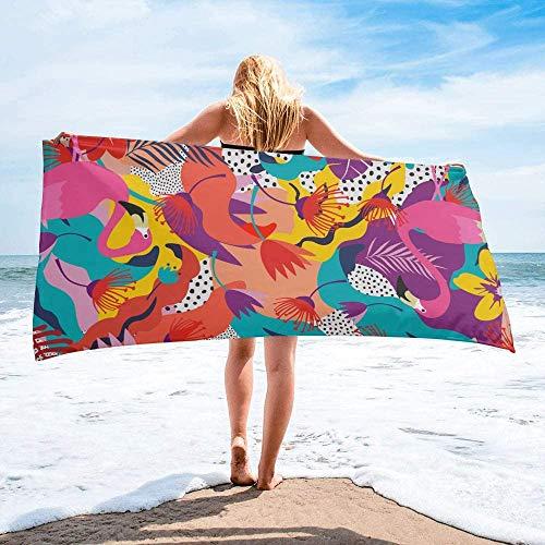 Toalla de Playa de Secado rápido Personalizada Tropical Flamingo Florals, Toallas de Mano de Gran tamaño absorbentes y Ligeras para baño, Hotel, Gimnasio, SPA, Piscina, natación (27 'x55, Lunares)