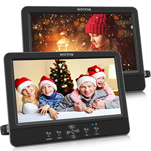 """WONNIE 10.5"""" Two DVD Players Dual Screen for Car Portable CD Player Play a Same or Two Different Movies with Two Mounting Brackets, 5-Hour Rechargeable Battery, Support USB/SD Card Reader"""