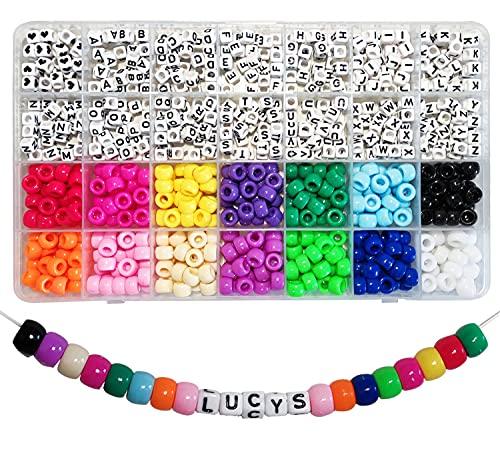 Adwzy 770 unidades de cuentas Pony y letras A-Z en forma de cubo para pulseras infantiles, joyas y manualidades