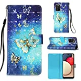 Voanice for Samsung Galaxy A02S Case,Premium PU Leather Wallet Case with Card Holder Slots Kickstand Magnetic Flip Cover Full Body Protective Wrist Strap for Samsung Galaxy A02S-BlueButterfly
