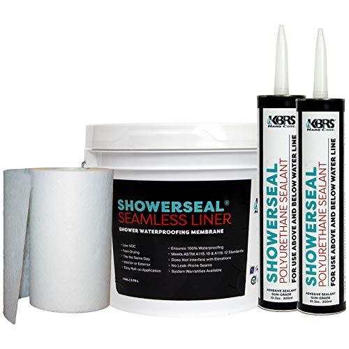 KBRS Waterproofing Pack #1 Shower Installation Kit Includes: Liquid Waterproofing Membrane, Seam Fabric, and Marine Grade Polyurethane Sealant (2 Tubes)