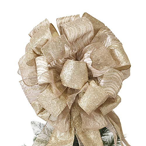 wlflash Christmas Tree Topper Bow with Glitter Satin Mesh Streamer for Xmas Ornaments Wreath Decor (Rose Gold)