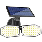 LED Luz Solar Exterior, 78 LED Doble Cabeza Solar de Seguridad Foco con Sensor...