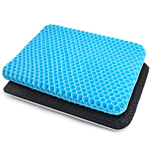 Dprofy Gel Seat Cushion - Gel Seat Cushion for Long Sitting, Double Layer Breathable Honeycomb Gel Cushion with Non-Slip Cover for Help Relieve Pain, for Office Chair, Computer Chair, Car, Wheelchair