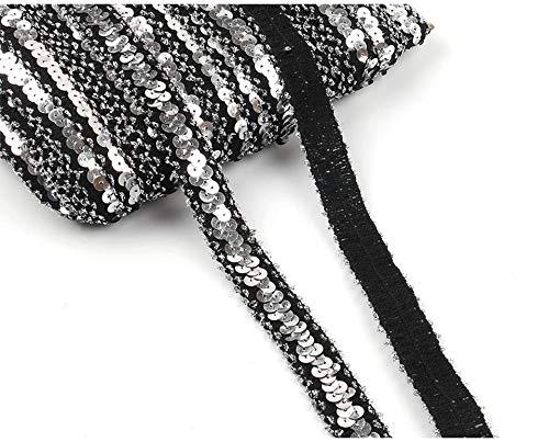 Yalulu 10 Yards Glänzendes Elastische Paillettenband Glitzer Stretch Pailletten Bänder Borten Bortenband DIY Handwerk Bastelprojekte (Silber - Schwarz)