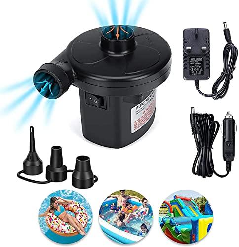 Bomba de aire eléctrica para camping, inflador/desinflador para colchones de aire, barcos,...