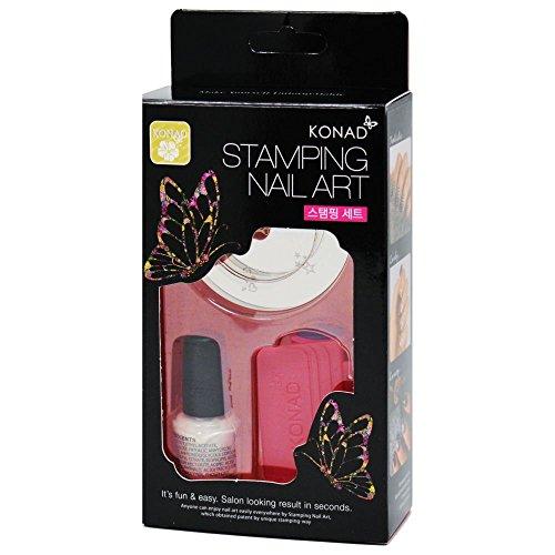 KONAD Stamping Set Small-Nail (Stampinglack weiss 5ml + Schablone rund M3 + Stempel + Schaber)