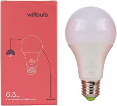 SQUAREDO Bombilla de luz Inteligente LED Lámpara WiFi Regulable Funciona con Alexa, Echo, Google Home e IFTTT 6.5W con B15 a E27 Adaptadores de Base de Bombilla LED