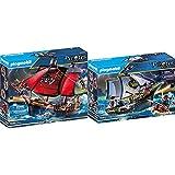 Playmobil Pirates Playset Barco Pirata Calavera, Multicolor (70411) + Pirates Carabela, A Partir De 5 Años, 70412