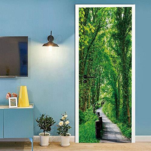 QHDHGR Engomada del Arte Moderno 3D Puerta Bosque verde y camino Vinilo Impermeable Extraíble Murales de Papel Decorativos Para el Hogar Baño Sala de estar Dormitorio Decoración 80 x 210cm(An x Al)