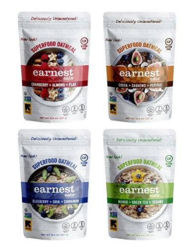Earnest Eats Gluten Free Superfood Hot & Fit Oatmeal 12.6 oz Bag Variety Pack. Unsweetened!