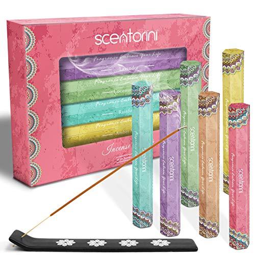 SCENTORINI Rökelsepinnar, lavendel, vanilj, regnskog, kokosnötlund, variation presentpaket 120 pinnar, inkluderar en hållare i låda