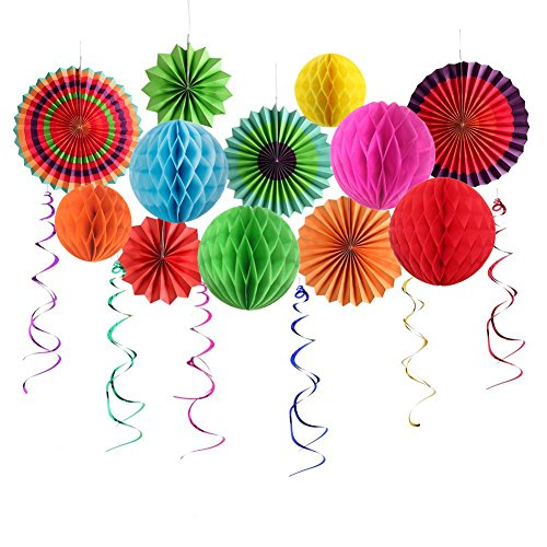 Sopeace Party Decoration Colorful Fiesta Paper Fans Tissue Paper Honeycomb Balls With Plastic Swirl for Birthday Wedding Carnival Baby Shower Home Party Supplies Favors Rainbow Color
