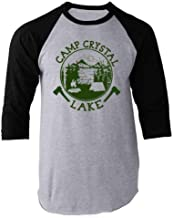 Pop Threads Camp Crystal Lake Counselor T Shirt Horror Costume Raglan Baseball Tee Shirt
