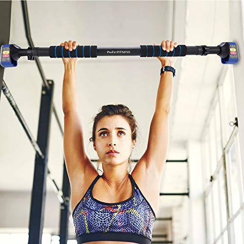 "Pull Up Bar Chin up Bar Doorway Exercise Bar Upper Body Workout Bar – Alu Locking Mechanism - No Screws- No Tools for Home Gym Exercise Fitness with 28.5"" - 37.5'' Adjustable Width (Blue)"