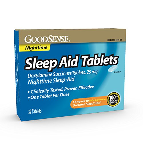 GoodSense Sleep Aid Doxylamine Succinate tablets, 25 mg, 32-count, Nighttime Sleep Aid to Help You Fall Asleep