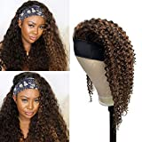 Deep Wave Headband Human Hair Wigs Brazilian Curly Medium Auburn Highlights Scarf Wig 20 Inch Balayage Glueless Wig Remy Wavy No Lace Front Wig 150% Density Retro Style for Black Women #1BP30
