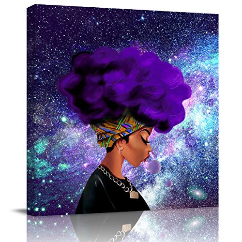 Canvas Wall Art 3D Framed Oil Painting Afro African American Woman Lady Purple Galaxy Space Canvas Picture Artwork for Bedroom Home Decoration 12x12 Inch
