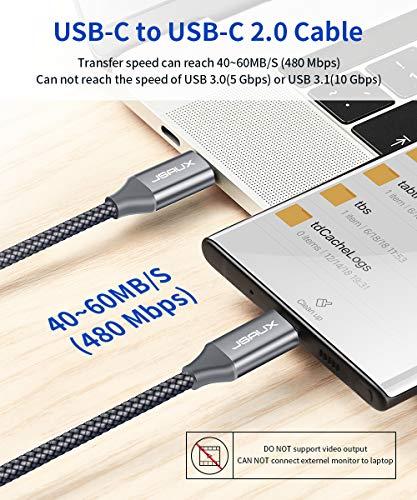 JSAUX USB C auf USB C Kabel 2M [2Pack], USB Typ C PD Ladekabel 60W Kompatibel für Samsung Galaxy S20/S20 Ultra/S10/S9/S8/Note 10, Google Pixel 2/2XL/3/3XL, Nexus 6P, Huawei P30/P20, iPad Pro 2018 Grau