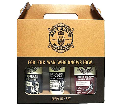 Men's Master 3-teiliges, Every Day Set, Antitranspirant Deodorant, Verjüngungscreme sowie Anregendes Shampoo, Geschenkset für Ihn