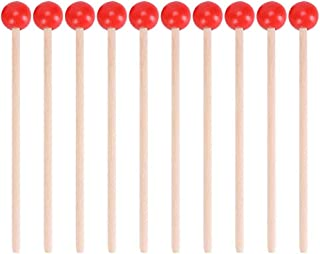 Gfhrisyty 12 Pcs Rubber Mallet Percussion Sticks with Wood Handle Round Head Mallet Music Accessories for Children Kids